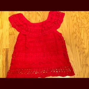 Tops - Red crochet lace top sz large on or off shoulder